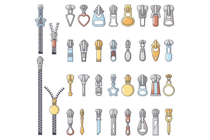 Metal zipper puller icons set, cartoon style