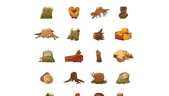 Stumps icons set, cartoon style