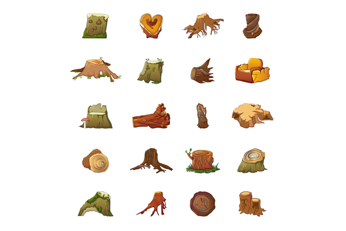 Stumps icons set, cartoon style