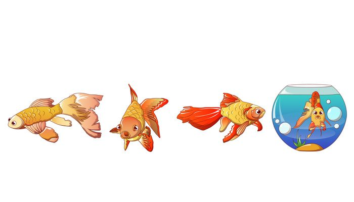 Goldfish icons set, cartoon style