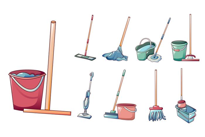 Mop icons set, cartoon style