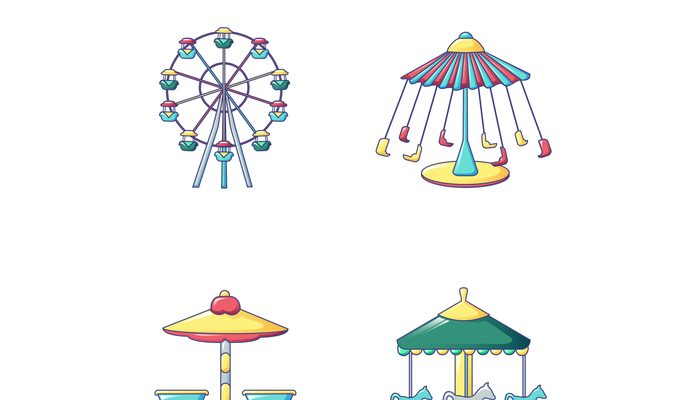 Carousel icons set, cartoon style