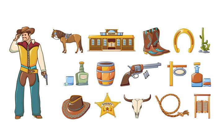 Saloon icons set, cartoon style