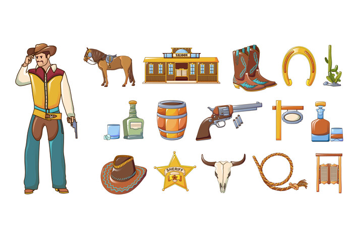 Saloon icons set, cartoon style