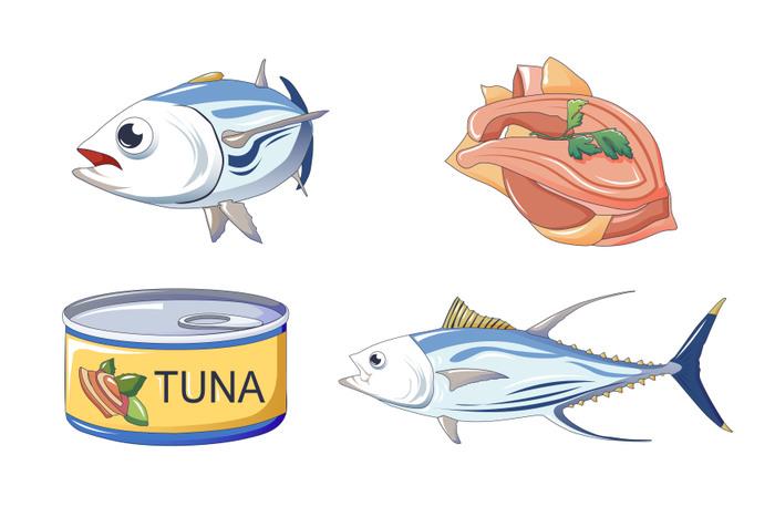 Tuna fish icons set, cartoon style