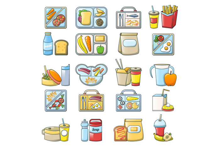 Lunch break lunch food icons set, cartoon style