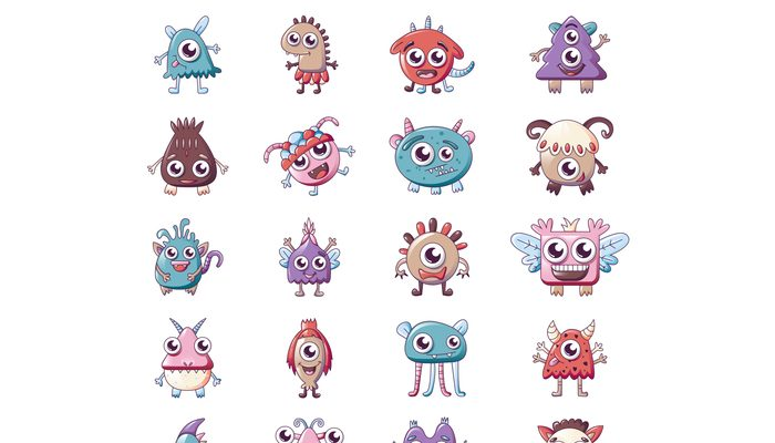 Monsters icons set, cartoon style