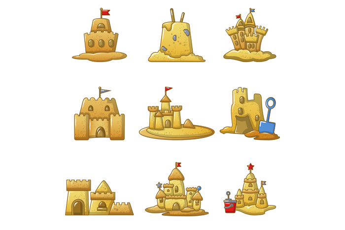 Sandcastle beach icons set, cartoon style