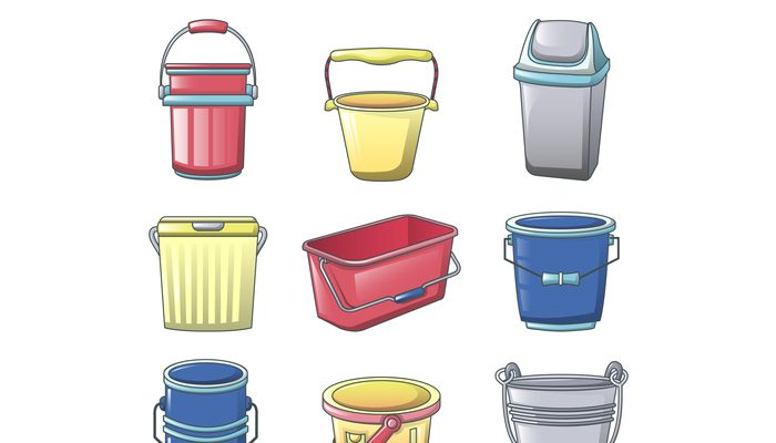 Bucket types container icons set, cartoon style