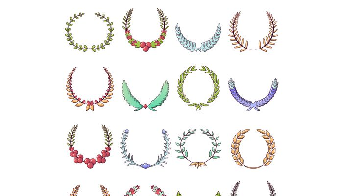 Laurel wreath icons set, cartoon style