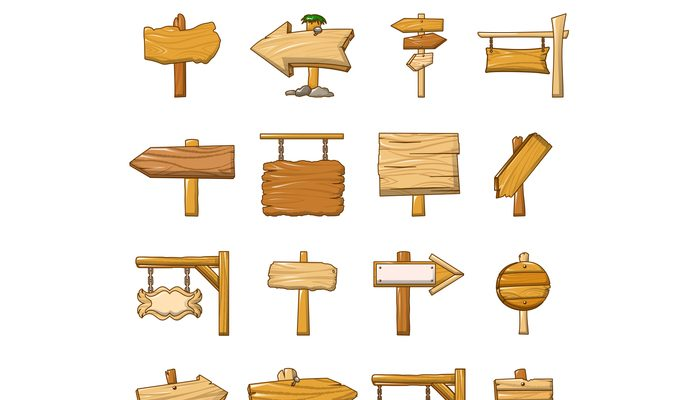 Signpost road wooden icons set, cartoon style