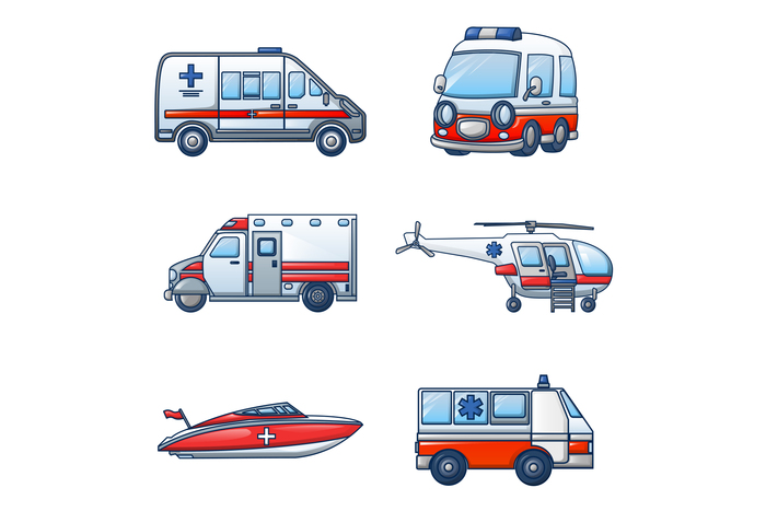 Ambulance transport icons set, cartoon style