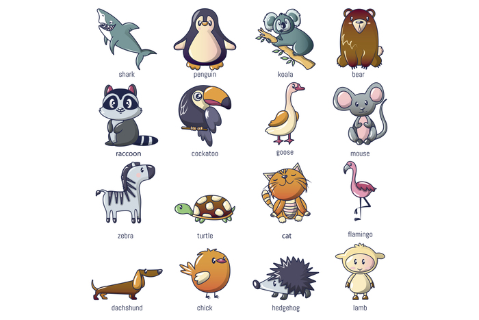 Animals icons set, cartoon style
