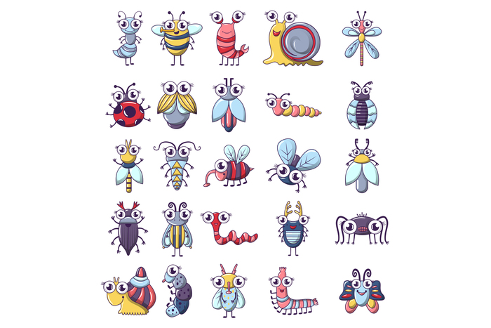 Bug funny insect icons set, cartoon style