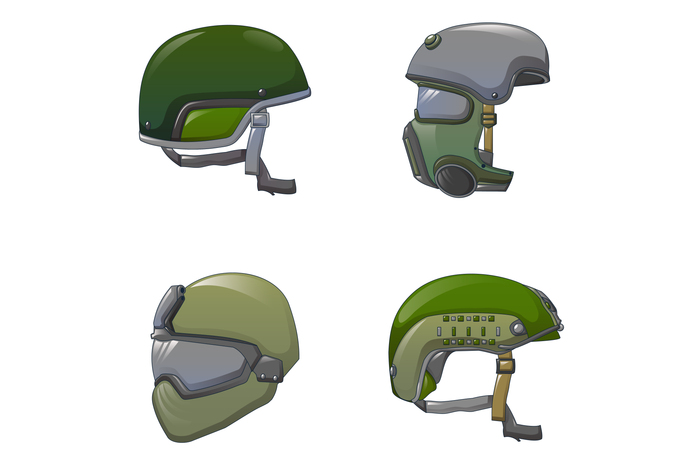 Army helmet soldier icon set, cartoon style
