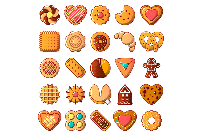 Cookies biscuit icons set, cartoon style