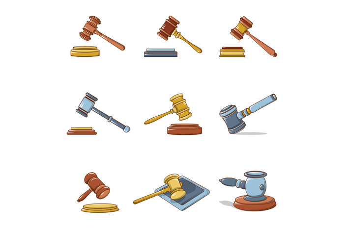 Judge hammer icons set, cartoon style