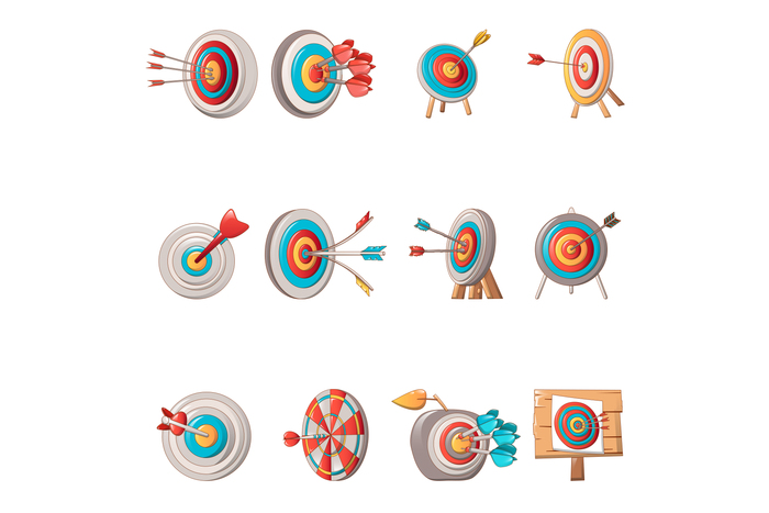 Target with arrow icons set, cartoon style