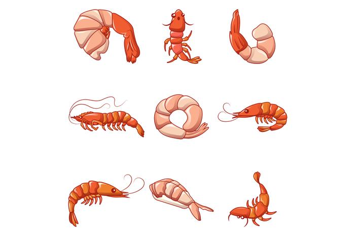 Shrimp prawn cooked icons set, cartoon style