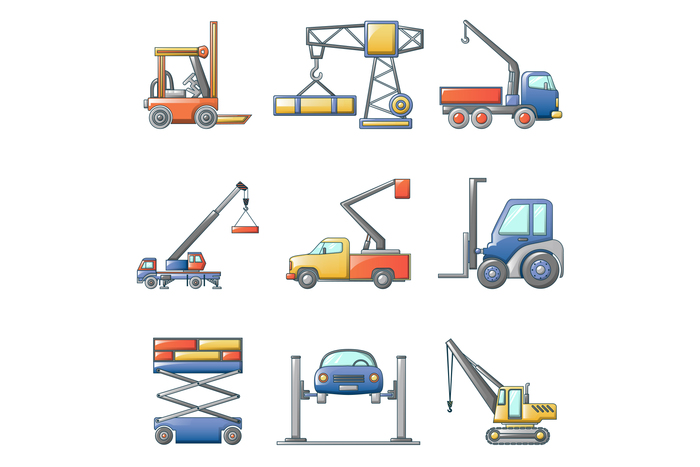 Lifting machine icons set, cartoon style
