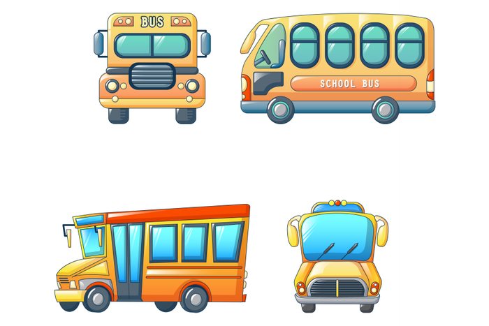 School bus back kids icons set, cartoon style