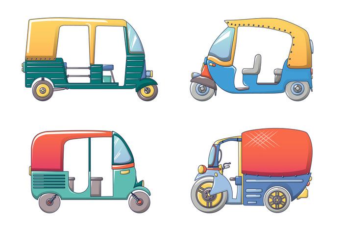 Tuk rickshaw Thailand icons set, cartoon style