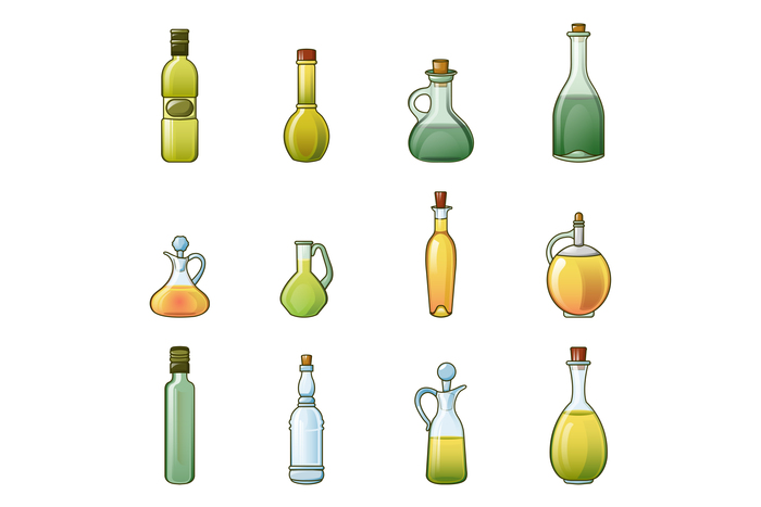 Vinegar bottle icons set, cartoon style