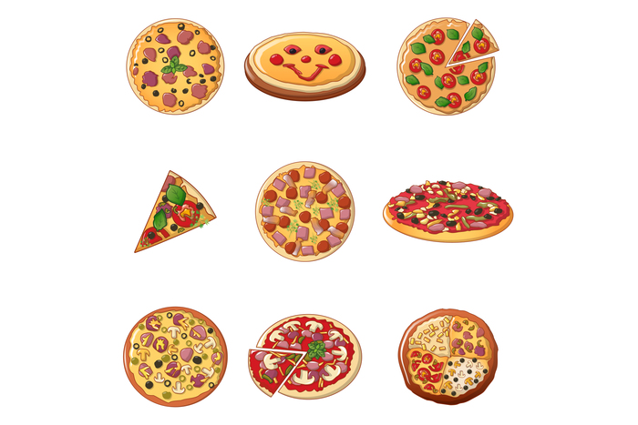 Pizza icon set, cartoon style