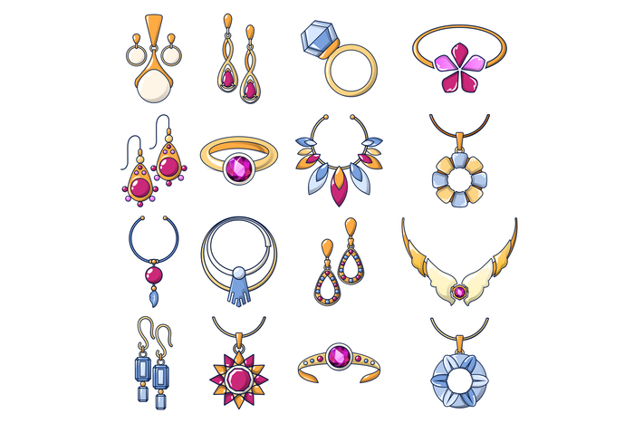 Necklace jewelry chain icons set, cartoon style