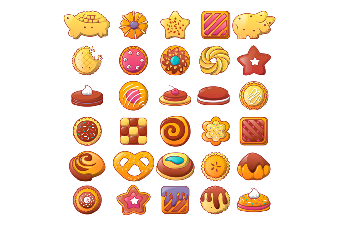 Biscuit cookies icons set, flat style