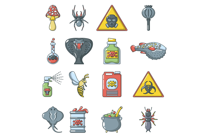 Poison danger toxic icons set, cartoon style