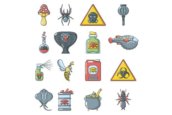 Poison danger toxic icons set, cartoon style