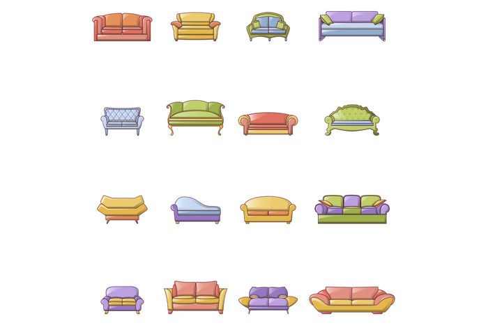 Sofa chair room couch icons set, cartoon style