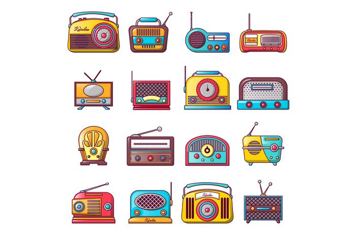 Radio music old device icons set, cartoon style