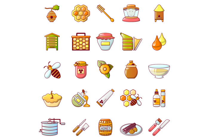 Propolis honey jelly icons set, cartoon style