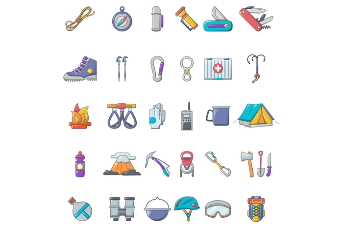 Mountaineering equipment icons set, cartoon style