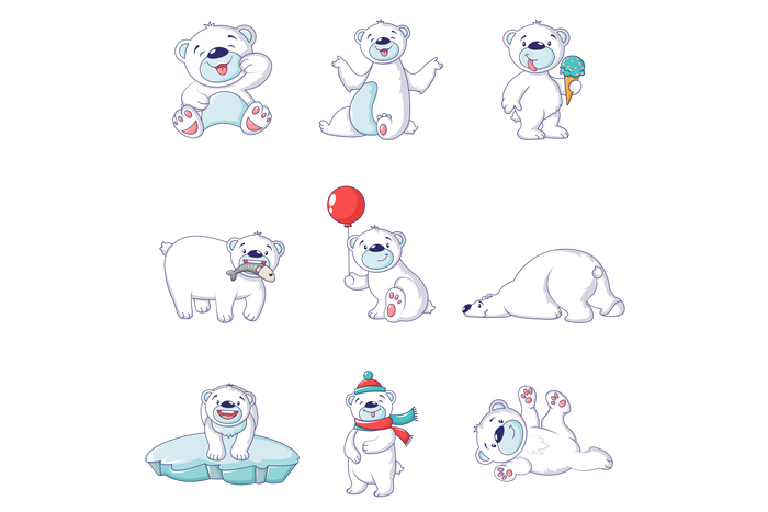 Polar bear baby white icons set, cartoon style