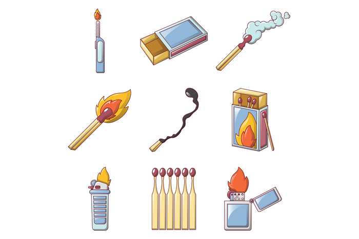 Safety match ignite burn icons set, cartoon style