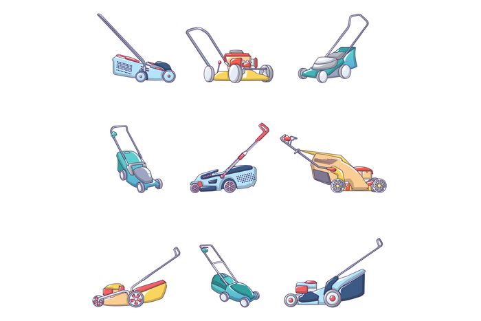 Lawnmower grass garden icons set, cartoon style