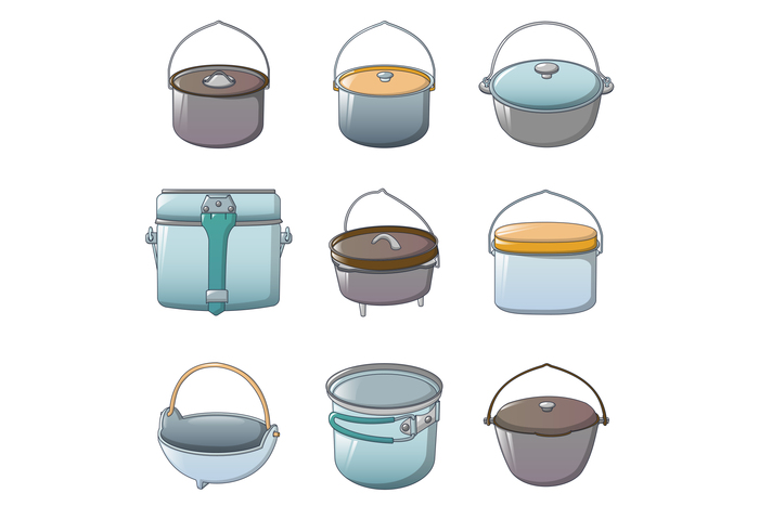 Cauldron kettle halloween icons set, cartoon style
