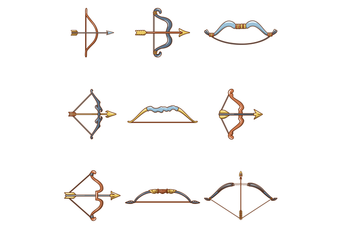 Bow arrow weapon icons set, cartoon style