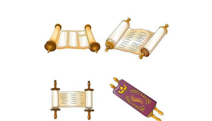 Torah scroll bible icons set, cartoon style