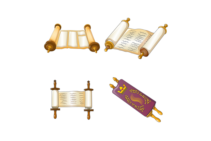 Torah scroll bible icons set, cartoon style