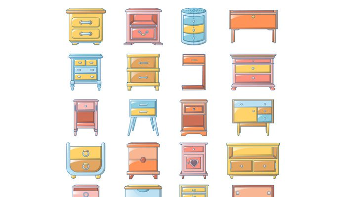 Nightstand bedside icons set, cartoon style