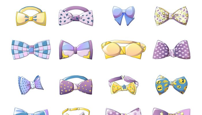 Bowtie icons set, cartoon style