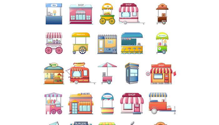 Street food kiosk icons set, cartoon style