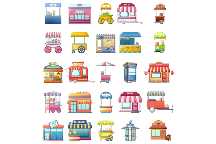 Street food kiosk icons set, cartoon style