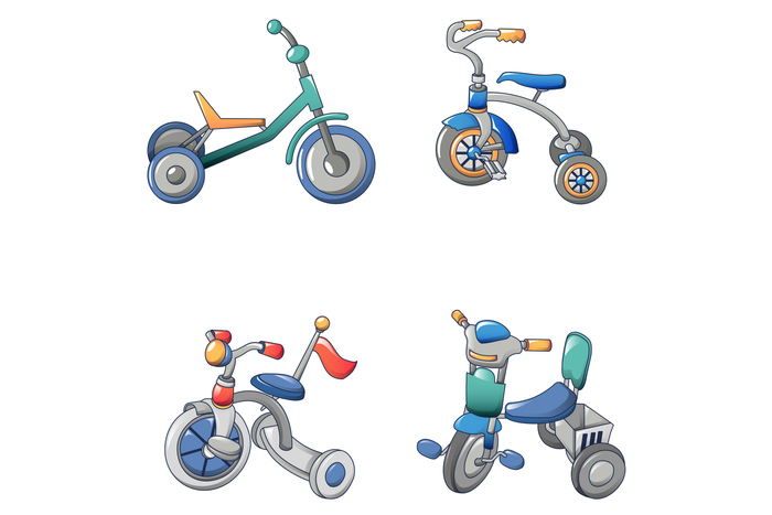Tricycle bicycle bike icons set, cartoon style