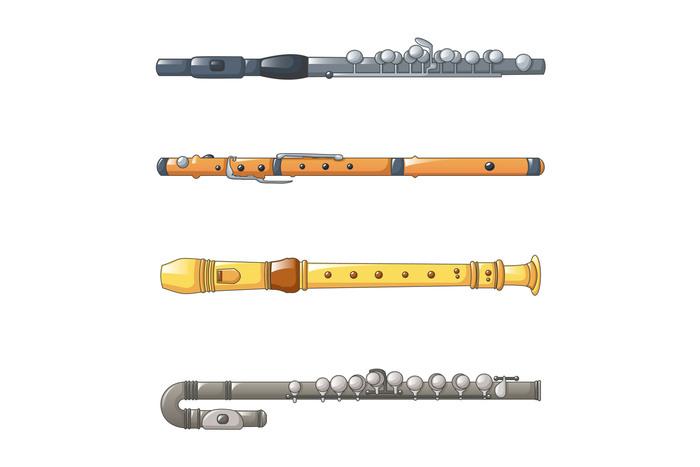 Flute icon set, cartoon style