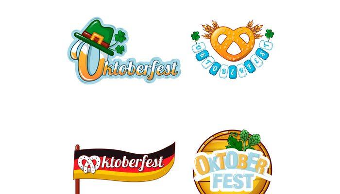 Octoberfest beer logo icon set, cartoon style